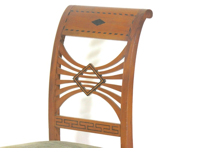 Inlay Swedish Biedermeier Karl Johan Birchwood Side Chairs, circa 1830-Provenance For Sale