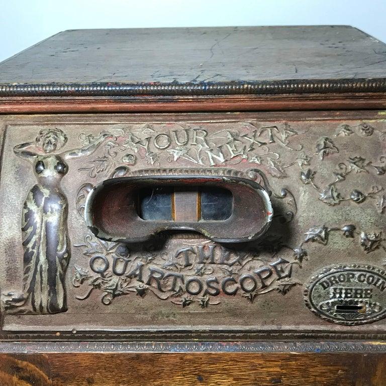Metal Art Nouveau Mills 5c Quartoscope Coin Op Stereo Viewer Arcade Machine circa 1890 For Sale