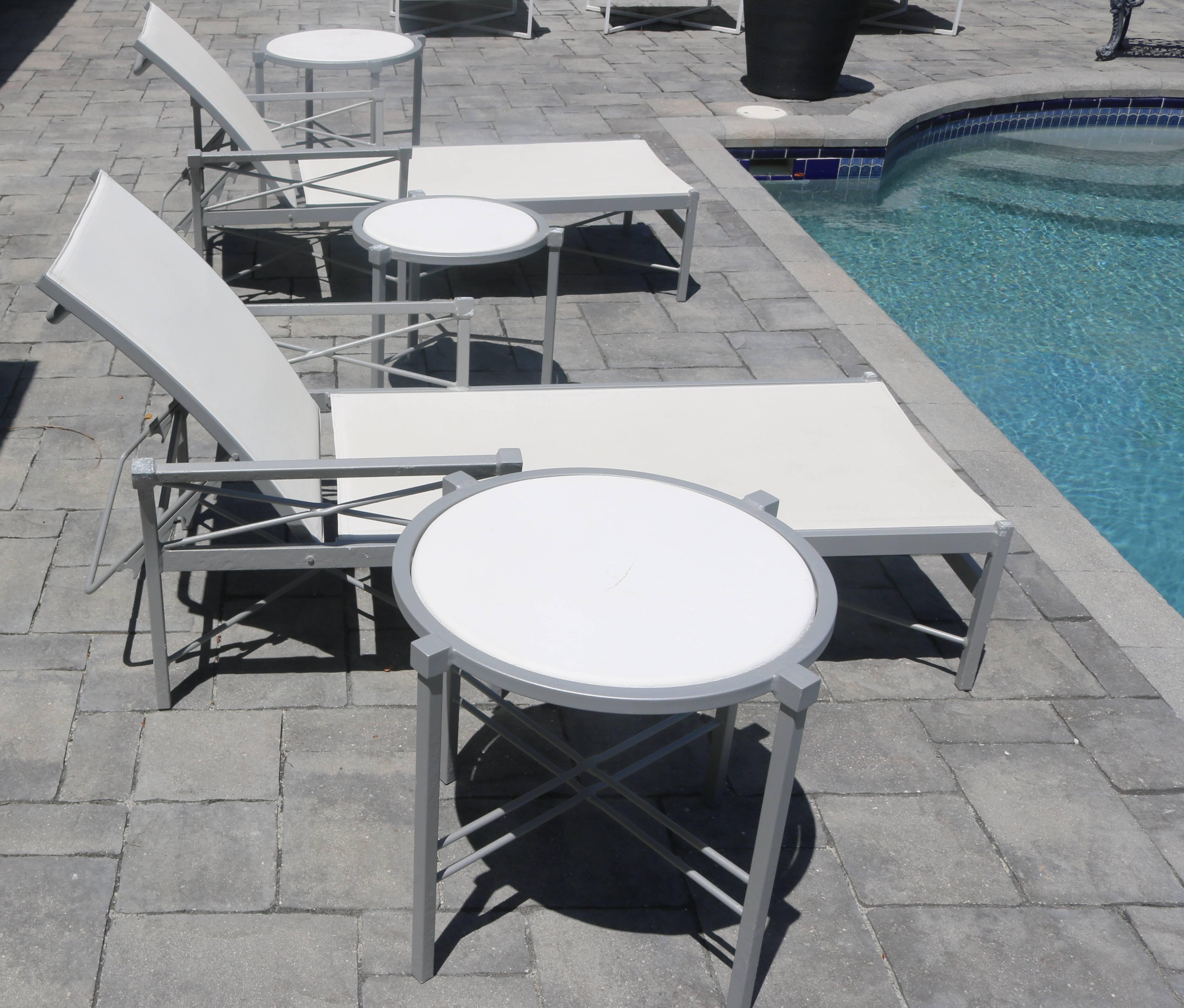 Set Of 11 Pieces Outdoor Pavillion Garden Furniture, Chic Design Gray And  White 2