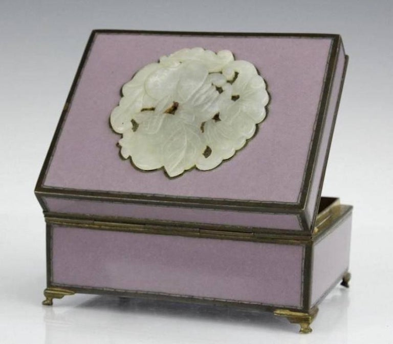 Japanese Yamanaka Finest Cloisonné Enamel Box W Jadeite Inlay, circa 1920, Inspired Gift For Sale