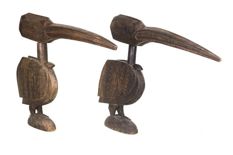 Folk Art Huge Ethnographic ExoticWood Carved Pair of Baga Bird Sculptures with Provenance For Sale