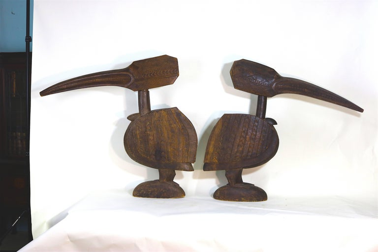 Huge Ethnographic ExoticWood Carved Pair of Baga Bird Sculptures with Provenance In Good Condition For Sale In West Palm Beach, FL