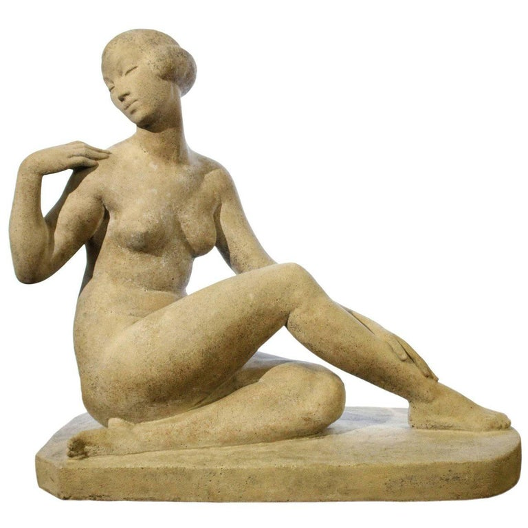 "Art Deco Fine Limestone Sculpture, Marcel Bouraine ""Awakening,"" 1930 Provenance"