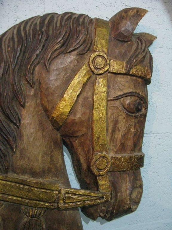 Mid Century Stylized Wood Carved Horse Head Wall Sculpture