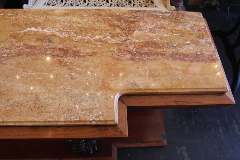 1980s Walnut Console Table with Marble Top and Antique Carved Wood Griffins For Sale 4