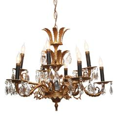 1940s Ten-Light Ornate Crystal Chandelier with Acanthus Leaves