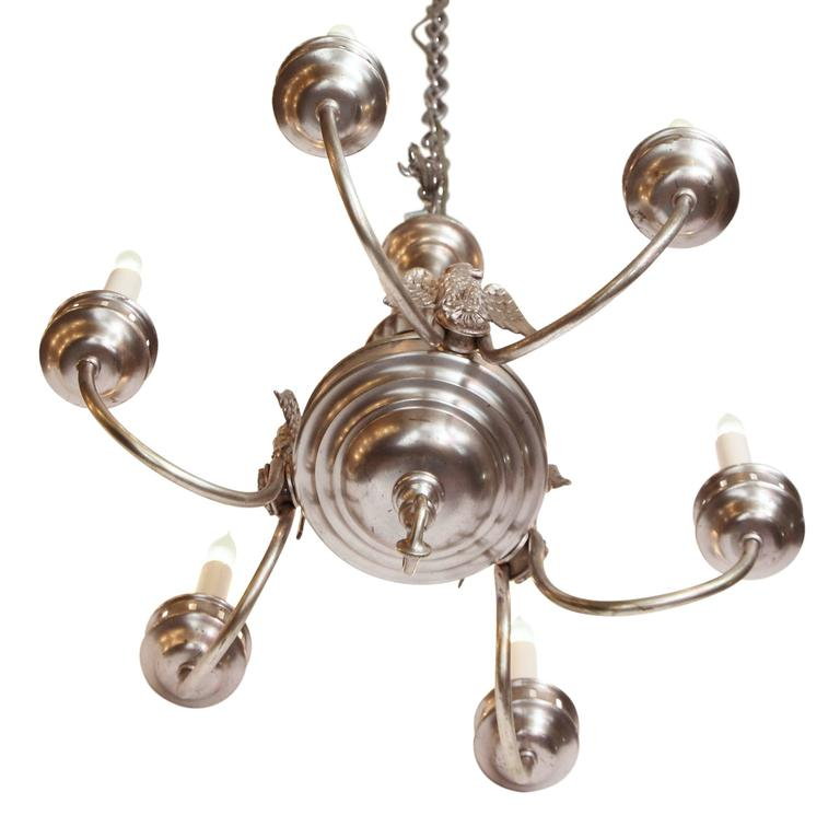 1900s Sterling Bronze Co. Silvered Six-Light Federal Chandelier with 3 Eagles In Excellent Condition For Sale In New York, NY