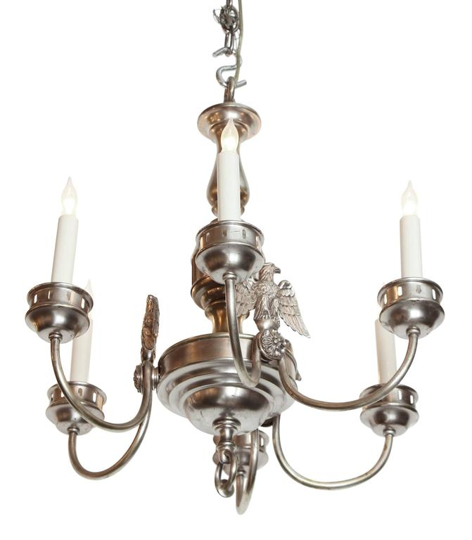 Silvered bronze six light hanging fixture by the Sterling Bronze Co. of New York. The chandelier is from 1900s. Done in a Federal style with three eagles presented between the arms. This item can be viewed at our 5 East 16th St Union Square location