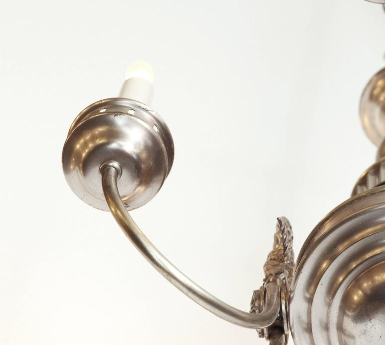 1900s Sterling Bronze Co. Silvered Six-Light Federal Chandelier with 3 Eagles For Sale 1