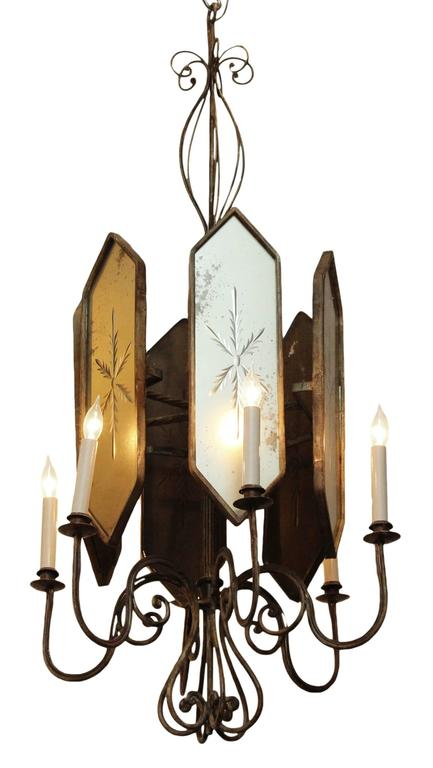 Venetian style Art Deco six-arm chandelier. This piece is fashioned out of wrought iron with etched mirrored glass. French made in the 1930s. This item can be viewed at our Union Square NYC location.