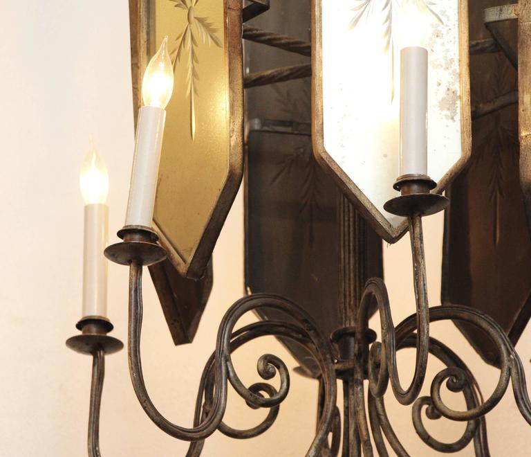 French Art Deco Venetian Style Six-Arm Chandelier with Etched Mirrored Glass For Sale 1