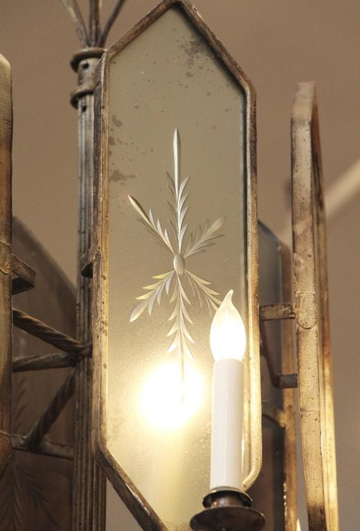 Mid-20th Century French Art Deco Venetian Style Six-Arm Chandelier with Etched Mirrored Glass For Sale