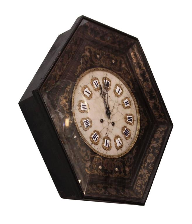 1920s Chinoiserie Style Wall Clock with Detailed Marble Face and Enamel Numbers