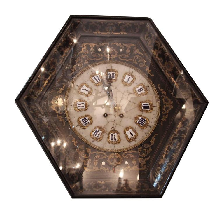 1920s Chinoiserie Style Wall Clock With Detailed Marble