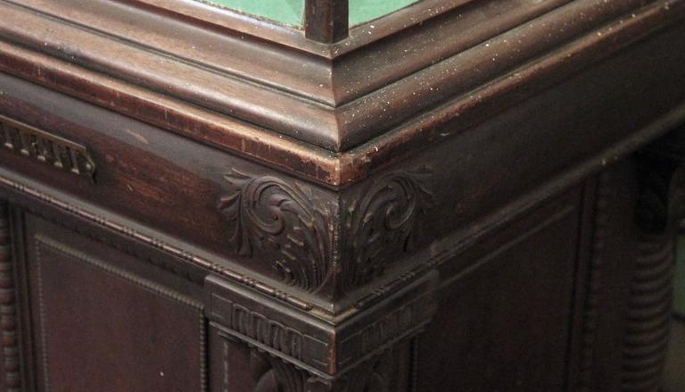 Beveled 1800s Carved Oak Cigar Humidor and Mirrored Showcase by Whitcomb Cabinet Co.  For Sale