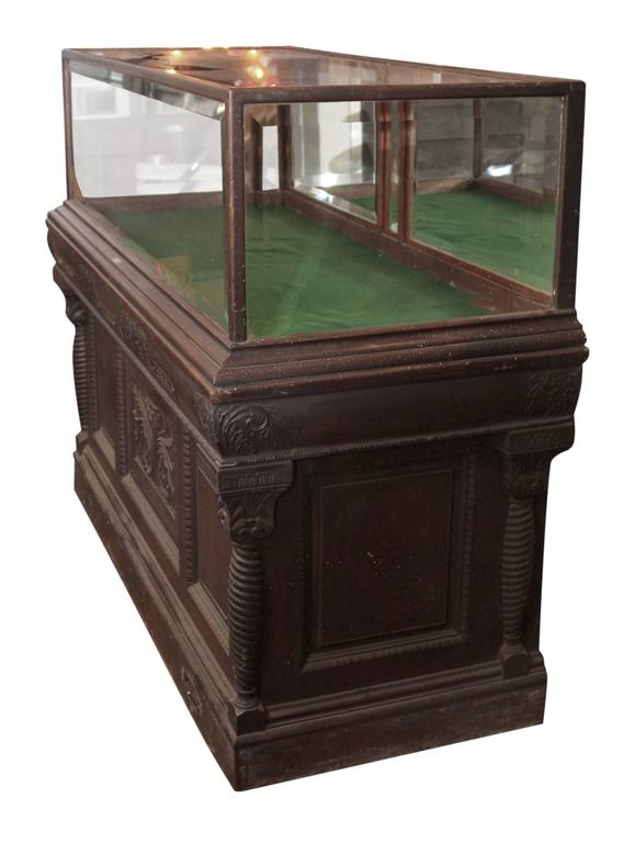 1800s Carved Oak Cigar Humidor and Mirrored Showcase by Whitcomb Cabinet Co.  For Sale 1