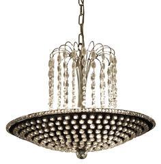 2000s Mid-Century Modern Jeweled Cascading Teardrop Crystal Pan Pendant