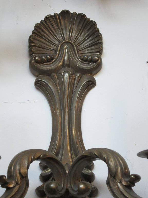 Early 20th Century 1920s Pair of Bronze Two-Arm Sconces For Sale