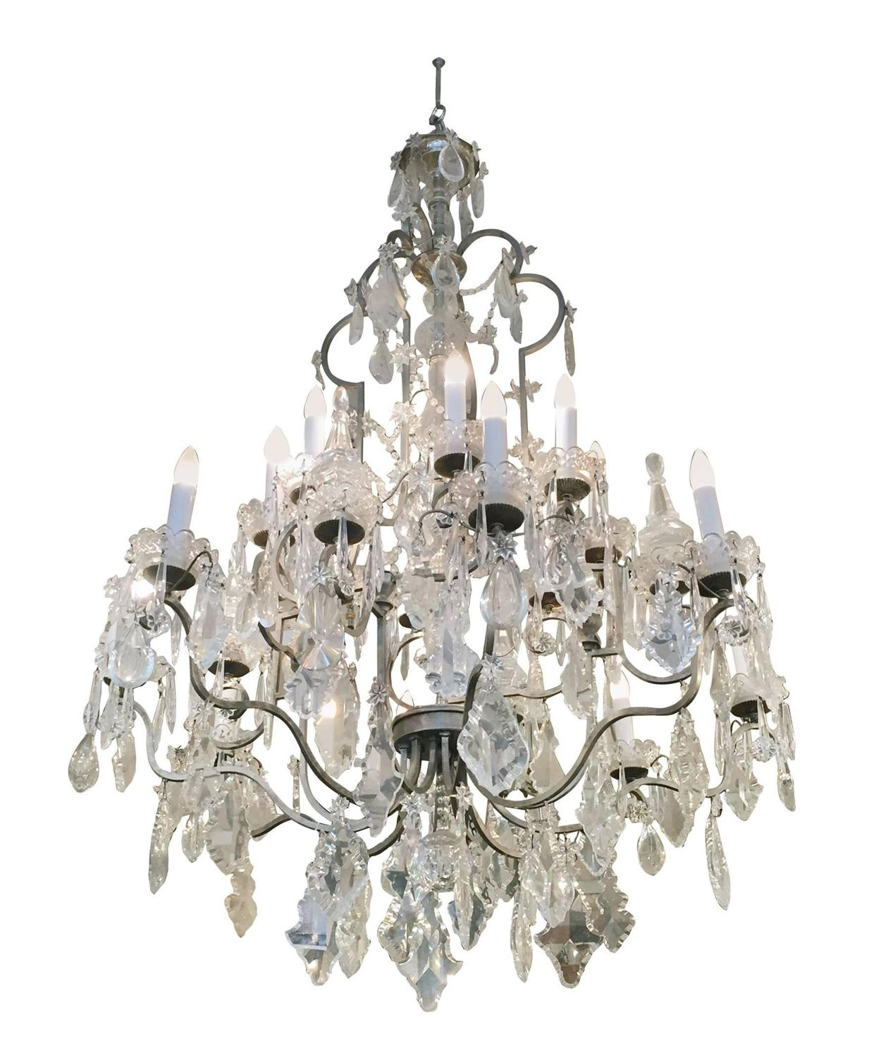 1940s Large Crystal Chandelier From The New York City