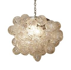 2009 Clear Hand Blown Mid-Century Modern Bubble Glass Pendant Light