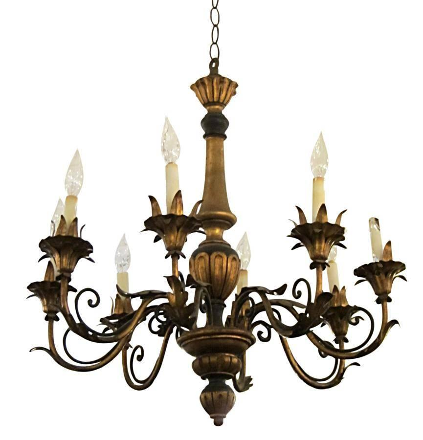 1930s Wood and Gilt Metal Florentine Style Wood Chandelier ...