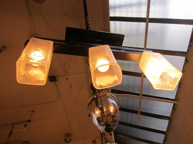 Contemporary 2006 Mid-Century Modern Handblown Glass Triple Flush Mount Light Fixture For Sale