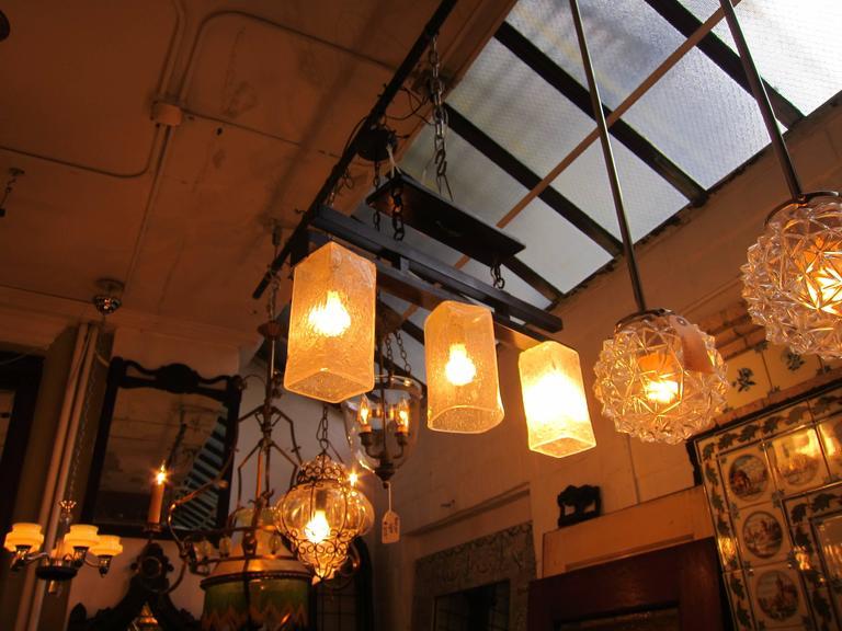 2006 Mid-Century Modern style handblown glass triple flush mount light fixture.