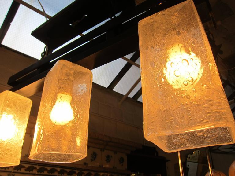 Blown Glass 2006 Mid-Century Modern Handblown Glass Triple Flush Mount Light Fixture For Sale