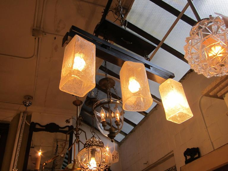 American 2006 Mid-Century Modern Handblown Glass Triple Flush Mount Light Fixture For Sale