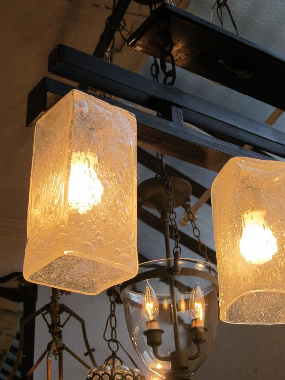 2006 Mid-Century Modern Handblown Glass Triple Flush Mount Light Fixture For Sale 1