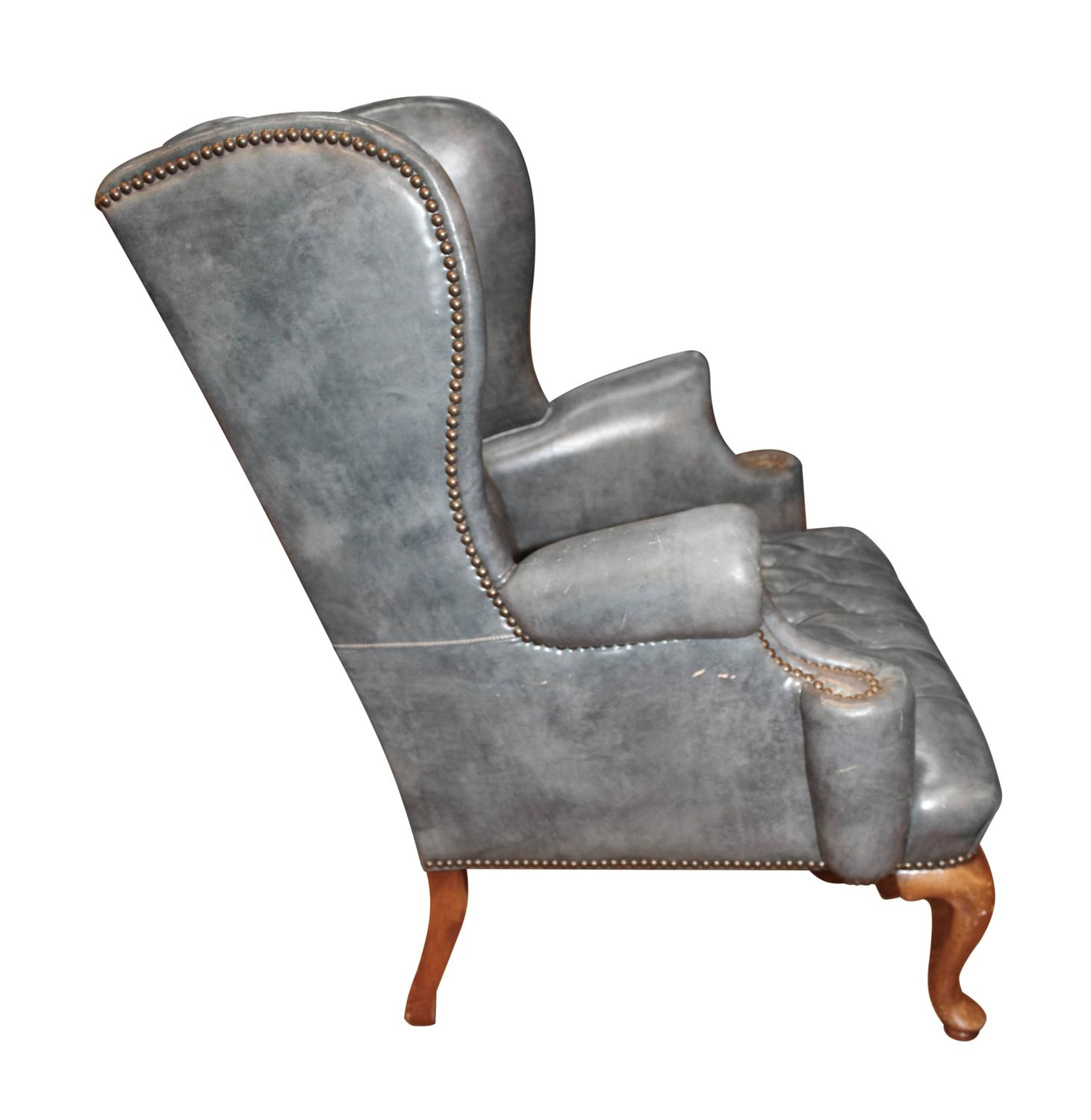 Vintage blue gray leather wingback occasional chair with for Leather wingback recliner sale
