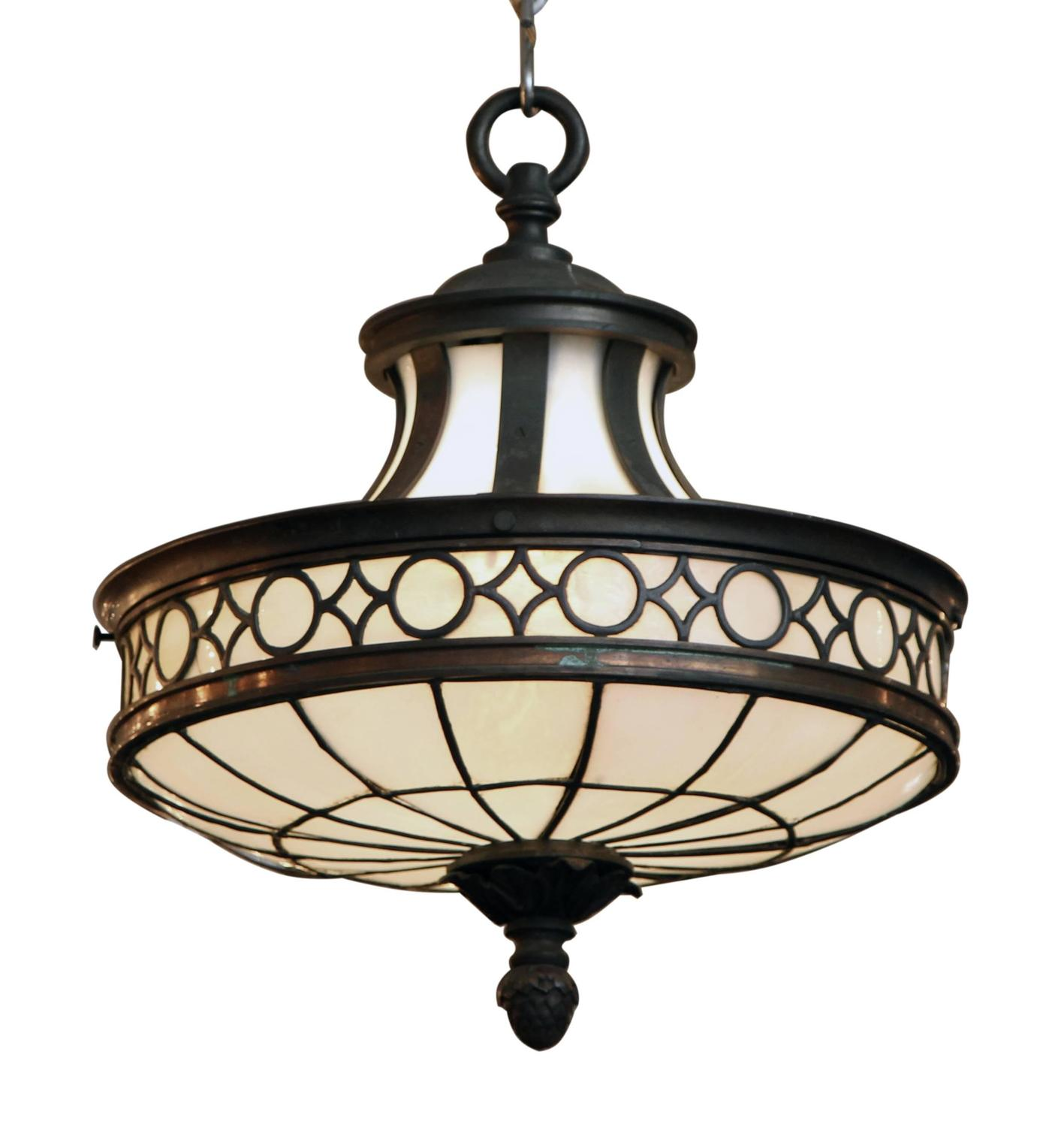 1910 Bronze Bank Pendant Light with Opalescent Glass and ...