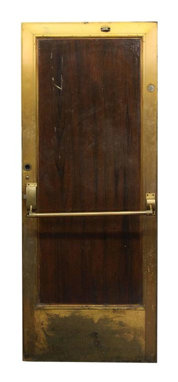 1920s Brass Lobby Door With Wood Veneer On One Side And