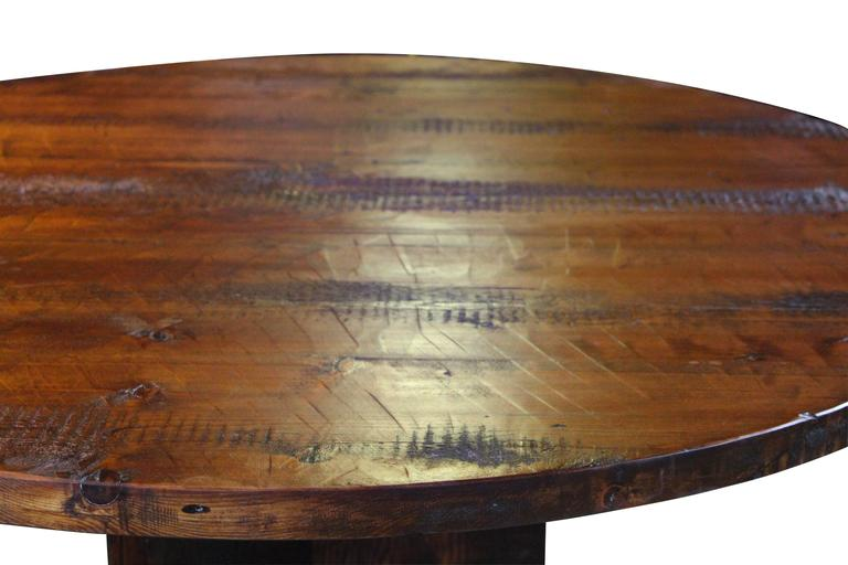 This Round Reclaimed Wood Semi Rustic Pine Table Comes With A Y Style Pedestal