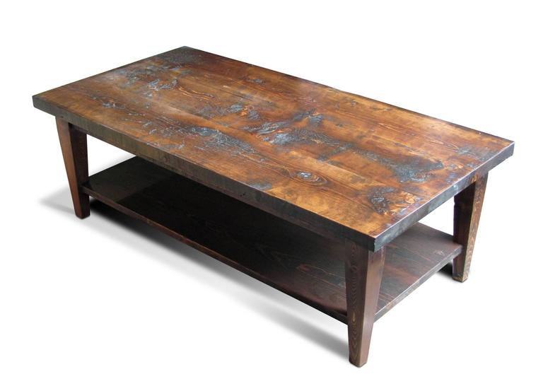 reclaimed semi rustic pine coffee table with bottom shelf and Custom Built Coffee Tables