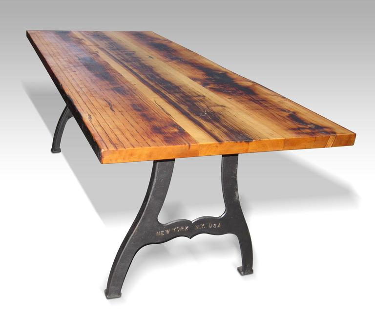 """Urban Farm Table with """"New York NY"""" Industrial Machine Legs For Sa"""