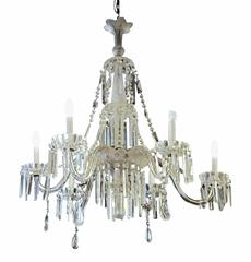 1940s French Frosted and Cut Glass Crystal Six-Arm Extra Long Chandelier