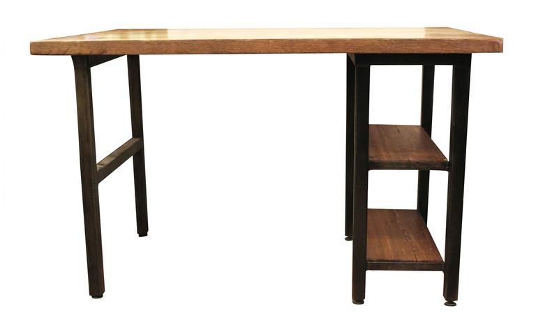 Industrial Reclaimed Oakwood Top Desk with Steel Legs and Two Shelves For Sale