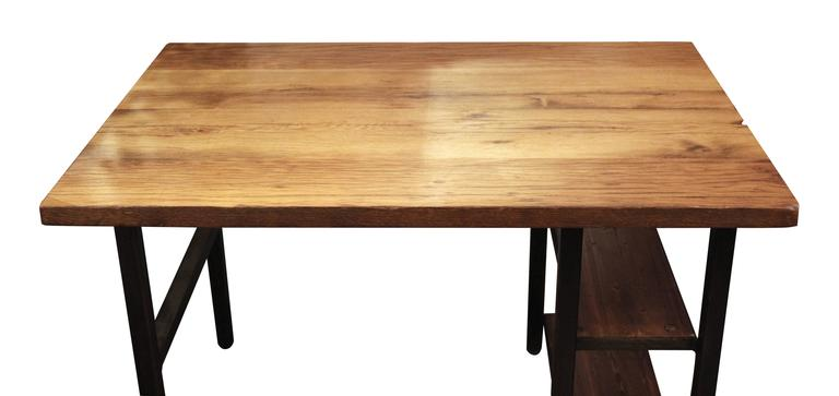 American Reclaimed Oakwood Top Desk with Steel Legs and Two Shelves For Sale