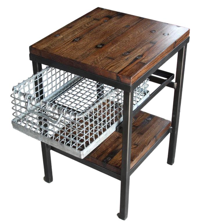 Unique Industrial Style End Table Or Made From Reclaimed Flooring Featuring A Galvanized