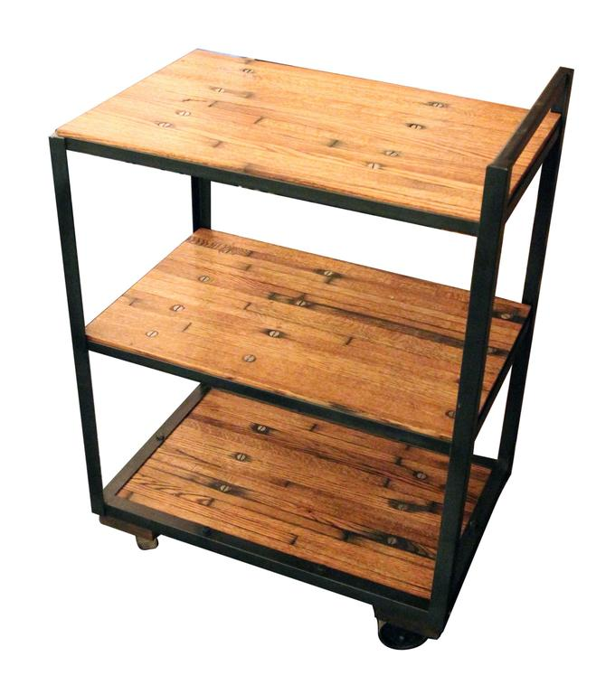 Industrial Bar Or Tea Cart With Salvaged Wood Flooring Shelves And Casters  Custom Made By
