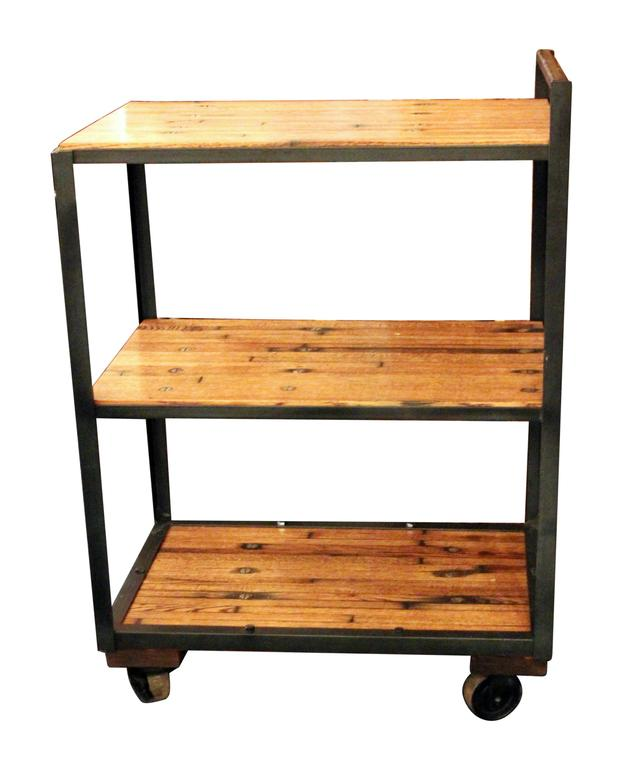 industrial bar or tea cart with salvaged wood flooring shelves and rh 1stdibs com book shelves on casters shelves on casters that close like a book