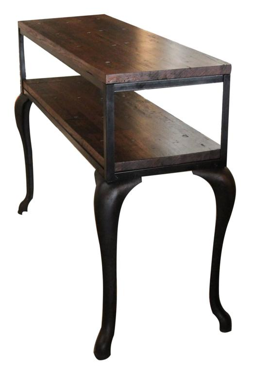 Industrial flooring top console table with cast iron for Cast iron table legs for sale