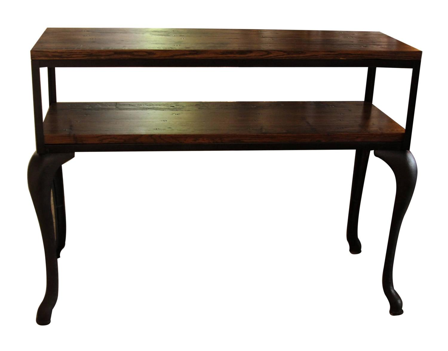 Industrial flooring top console table with cast iron for Cast iron furniture legs for sale