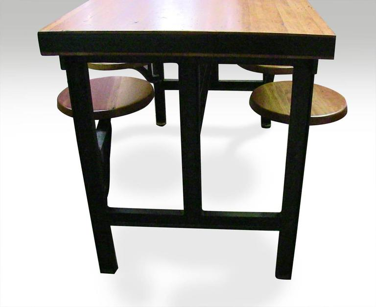 Cast Iron Swing Swivel Stool Industrial Factory Table with Four Stools For Sale 3