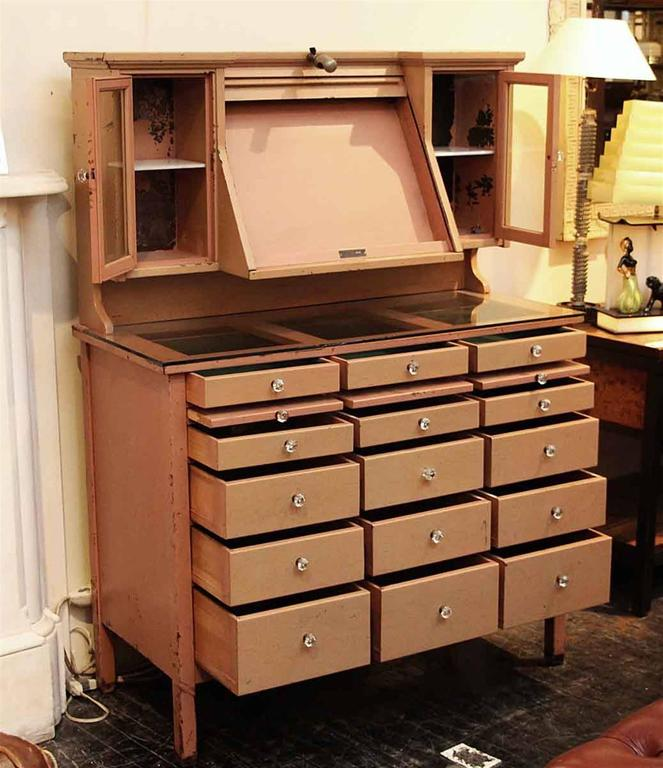 1900s Opthalmic and Genothalmic Medical Cabinet with Roll Up Door ...