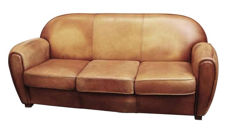 1950s Art Deco French Leather Sofa With Three Cushions In A Medium Warm  Brown Color.