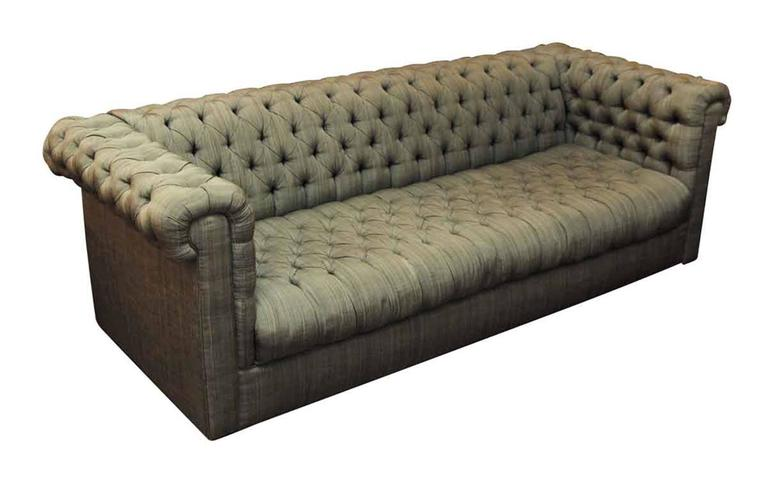 1940s Green Tufted Chesterfield Style Fabric Couch For