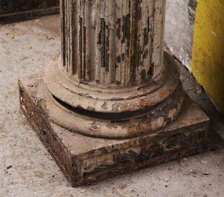 American 1910 Historic Grand Central Station Era Cast Iron Fluted Ornate Doric Columns For Sale