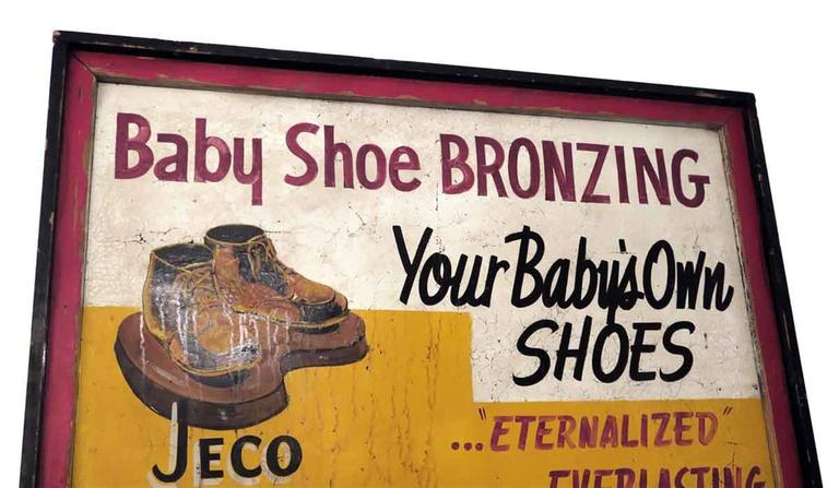 1940s Wooden Framed Double Sided Baby Shoe Bronzing Sign